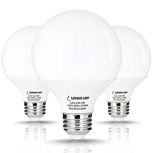 LOHAS LED Globe Lights, G25 LED Bulb, 9 Watt (60 Watt Equivalent) LED Vanity Light Bulbs (2700k) Warm White, Medium Base (E26), 270 Degree Beam, LED Globe Bulb for Home Lighting, Not Dimmable-3 Pack (Led Globe Lights Small Base compare prices)