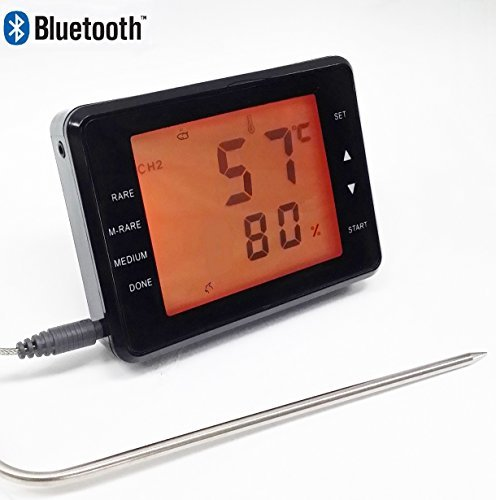 Bluetooth Barbeque BBQ Thermometer with Touch Display Screen for iOS and Android App Remote Control SH252B (Bluetooth Bbq compare prices)