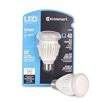 EcoSmart 400036 8.5-Watt (40W) Daylight (5000K) A19 LED Light Bulb