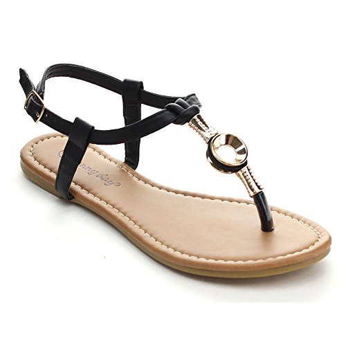 SUNNY DAY SAMI-60 Women's Casual T-strap Golden Embellishment Flat Thong Sandals