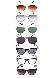 Allen Cate Rainbow Aviator & Wayfarer combo of 7 Sunglasses