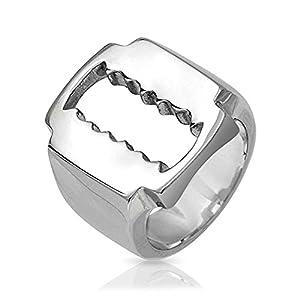 Bling Jewelry Mens Stainless Steel Razor Blade Ring