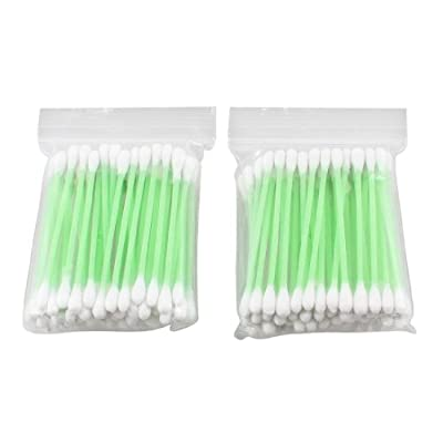 110 Pcs Double End Green Plastic Tube Cotton Swab Bud Earwax Remover