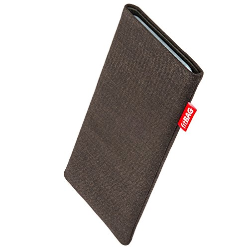 fitBAG Jive Brown custom tailored sleeve for Nokia Lumia 830. Fine suit fabric pouch with integrated MicroFibre lining for display cleaning