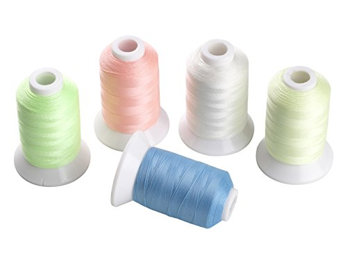 5 Different Colors Glow In the Dark Embroidery Thread 500 Meters Each (Embroidery Machine Thread Blue compare prices)