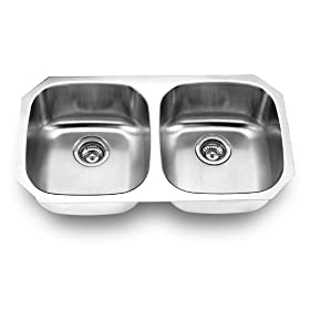 Yosemite Home Decor MAG502 18-Gauge Stainless Steel Undermount Double-Bowl Sink, 32-1/4-by-18-1/8-by-8-Inch, Satin