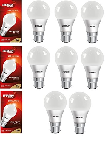 9W Cool Day Light 900 Lumens LED Bulb (Pack of 8)