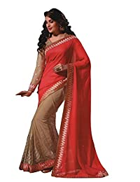 Aarti Saree Carrot Red And Golden Saree Party Wear Fashionable Wedding Wear Saree