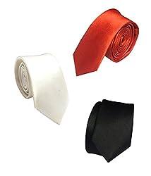 Combo of Vibhavari Men's White, Red & Black Sleek Tie