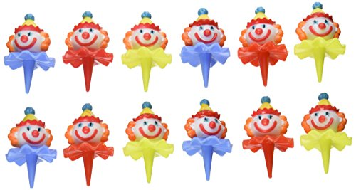 Oasis Supply Birthday 3D Clown Head Decorating Cupcake/Cake Picks, 2-1/2-Inch, Assorted Colors, Set of 12 - 1