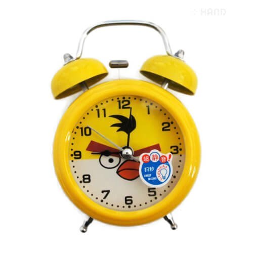 hand-r-8815-extrem-leise-kinder-cartoon-twin-gelb-bell-metall-wecker-angry-birds-style-chuck-gelb