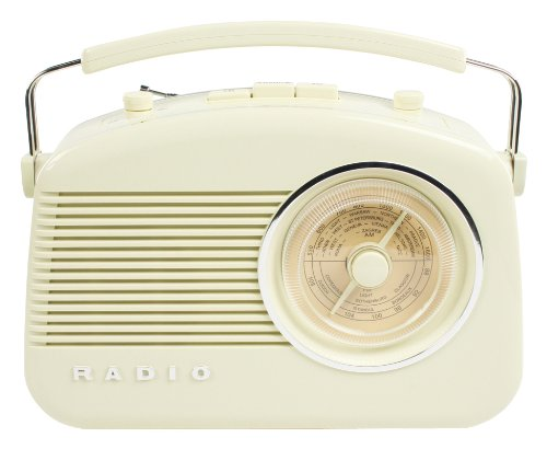 Konig 50's 60's Retro Design Round Dial Table Radio - Cream/White