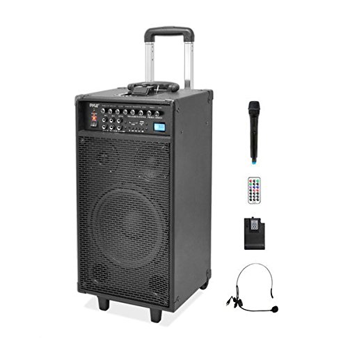 Pyle PWMA1090UI Wireless and Portable PA Speaker Sound System, Rechargeable Battery, USB/SD Readers, Radio, 800 Watt, Includes Handheld & Lavalier Mics (Portable Pa Sound System compare prices)