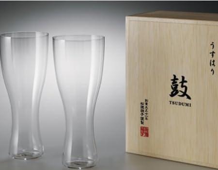 うすはりグラス 鼓 ビールグラス(ピルスナー)木箱2Pセット