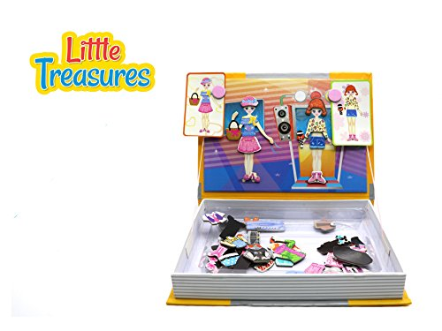 [Little Treasures 71-Pcs Magnetic Dress-Up Set - Music Party Dressup Girl Toy Book for Kids Ages 3] (Book Day Dress Up)