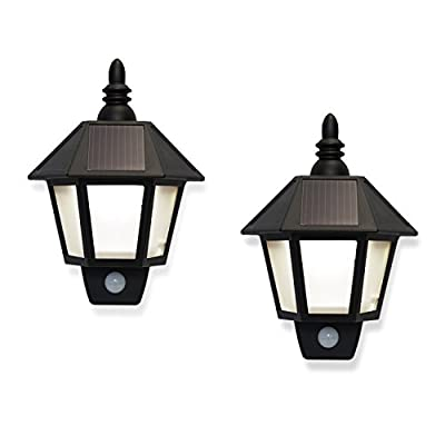 Set of 2 Outdoor Warm White Solar Sconce Security Wall Lights with High Tech Motion Detection- Rechargeable Battery Included