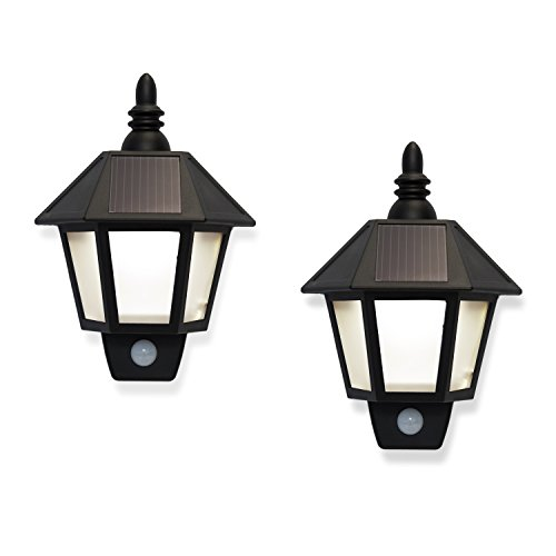 Set of 2 Outdoor Warm White Solar Sconce Security Wall Lights with High Tech Motion Detection- Rechargeable Battery Included (Outdoor Wall Solar Lights compare prices)