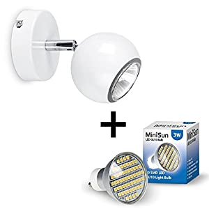 Modern Single Eyeball Ceiling/Wall LED Spotlight - Complete with SMD LED 3W GU10 Bulb from MiniSun
