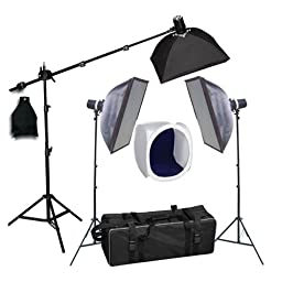 CowboyStudio Photo Studio 330 Watt, Three Monolight Strobe Flash Boom Kit with Carrying Case - 3 Studio Flash/Strobes, 3 Softboxes, 1 Boom Kit w/Sandbag, 1 24\