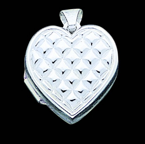 Sterling Silver Quilted Heart Locket. Metal Weight- 1.63g.