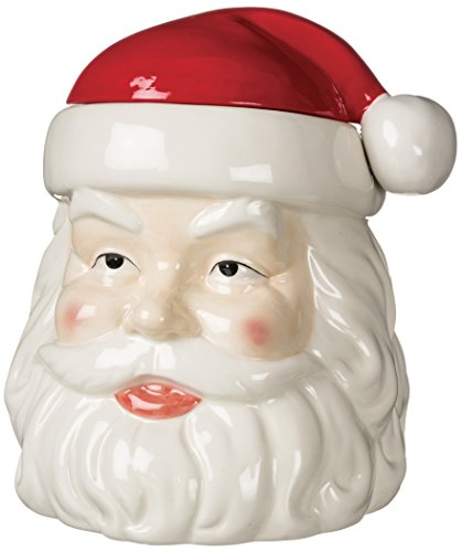 Santa Claus Head Red and White 10 inch Ceramic Stoneware Christmas Cookie Jar (Ceramic Santa Head compare prices)