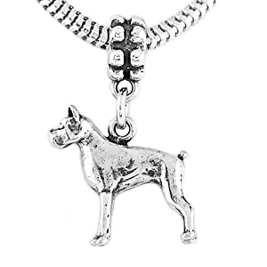 3d Boxer Dog Dangle Bead Charm - Sterling Silver