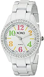 XOXO Women's XO5484 Rhinestone Accent White Analog Bracelet Watch