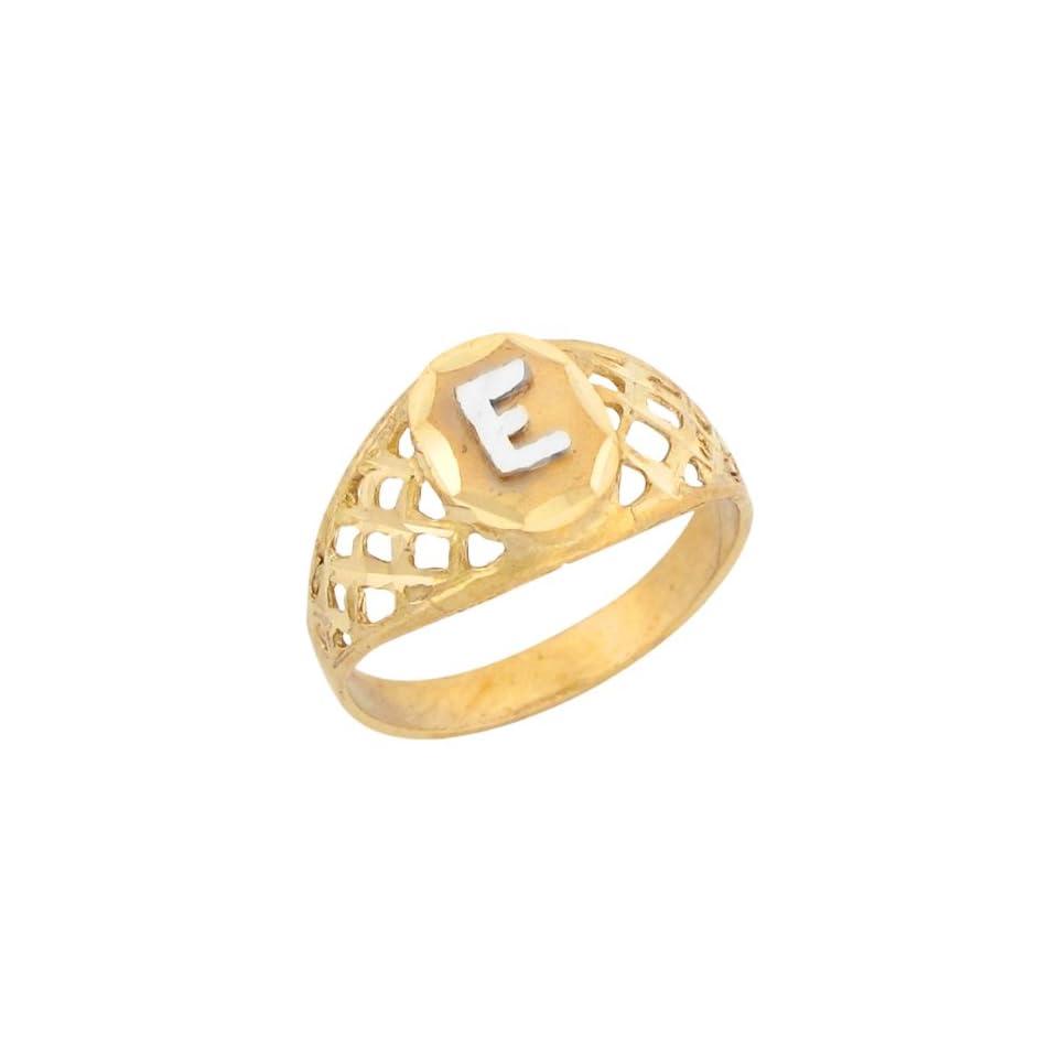 14k Two Tone Gold Diamond Cut Filigree Design Letter E Initial Ring