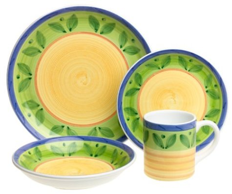Caleca Girasole 16-Piece Dinnerware Set, Service for 4