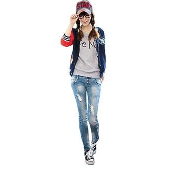 Buy Meilaier Ladies Casual Baseball Uniform Fleece Sweatshirt Splice Jacket by Meilaier