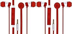 Jiyanshi Samsung Galaxy Wave S Compatible Combo of Stylish Earphone With Deep Bass (Red)