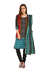 Parchayee Women's Blue Printed Cotton Dress Material
