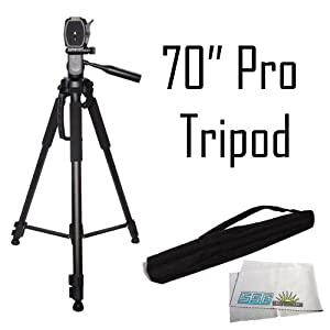 Professional 70-inch Tripod 3-way Panhead Tilt Motion with Two Built In Bubble Leveling for Canon, Nikon, Sony, Pentax, Sigma, Fuji, Olympus, Panasonic, JVC, Samsung Cameras + Camcorders