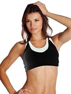 Body Up Women's Tp-Yoga Rib Workout bra (Black/White, Small)