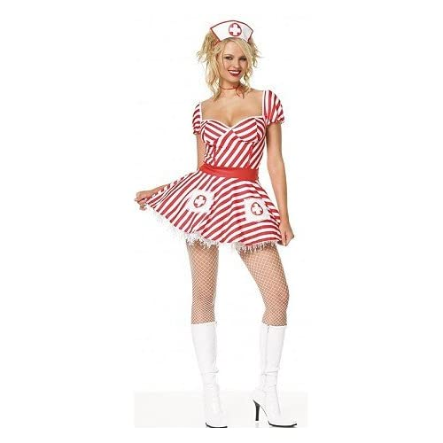 Adult Halloween Costumes: Sexy Babes in Striper Candy - Women's Sexy Nurse Costume Lingerie Outfit