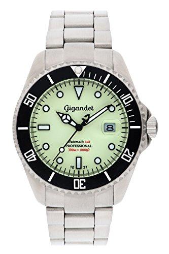 Gigandet SEA GROUND - Orologio automatico subacqueo 300m - diver sport uomo/donna - quadrante luminoso - con indicazione della data e cinturino in aciaio inox - G2-011