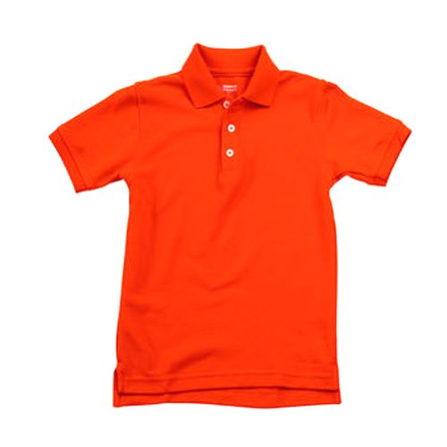 School Uniform Unisex Short Sleeve Pique Knit Shirt By French Toast, Orange 31930-7 front-927280