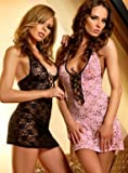 Passion Flowery Babydoll and Thong Set - Available in Black or Pink (L/XL - UK (12/16), Black)