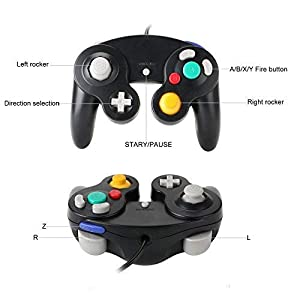 Mekela Classic Wired USB PC Controller Joystick Gamepad resembles Gamecube Game Cube for PC Windows MAC (USB Black and Black1) (Color: USB Black and Black1)