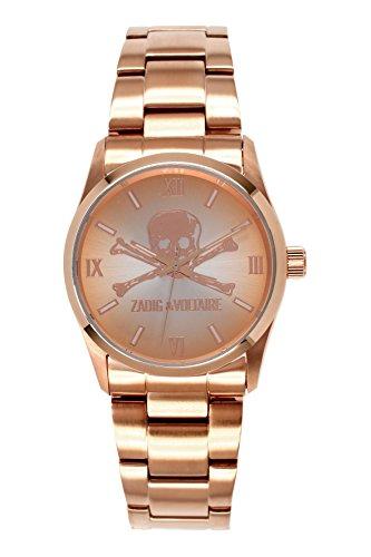 Zadig Voltaire ZV &2TM - 007/Rock Unisex Watch Analogue Quartz Analogue Watch-Pink Face-Pink-Plated Steel Bracelet