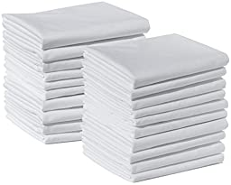 20 Standard Size 100% Cotton White T220 Percale Wholesale Bulk Discount Pillowcases Shams for Tie-Dying, Silk Screening, Hotels, Crafts, Camps, Parties, Physical Therapy (20 Pack - Standard - 100% Cotton)