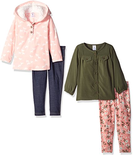 Carter's Baby Shirt and Legging Set ( 4-Piece), Pink/Olive, 12 Months