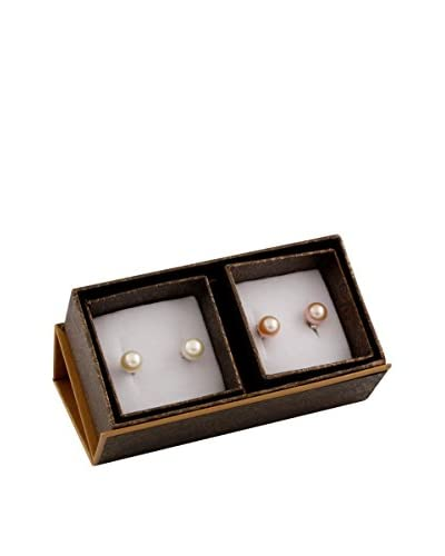 Splendid 2 Pairs of 8-8.5mm Pink & White Pearl Stud Earrings