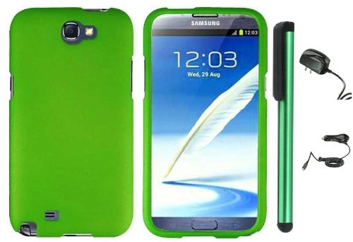 #>>  Grass Green Design Protector Hard Cover Case for Samsung Galaxy Note II N7100 (AT&T, Verizon, T-Mobile, Sprint, U.S. Cellular) Android Smart Phone + Luxmo Brand Travel (Wall) Charger & Car Charger + Combination 1 of New Metal Stylus Touch Screen Pen (4