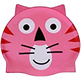Simplicity Kids Boys Girls Cute Cartoonish Swimming Cap, Pink Cat, One Size/Pink Cat