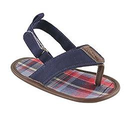 Luvable Friends Boys Plaid T Strap Sandal (Infant), Navy, 0-6 Months M US Infant