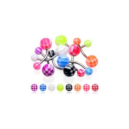 Urban Body Jewellery 8 Piece Pack Of Stainless Steel Body Piercing Navel Bars & UV Checker Balls