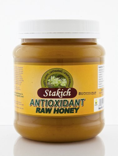 Stakich ANTIOXIDANT RAW HONEY 5-LB, Pure, Unprocessed, Unheated, KOSHER