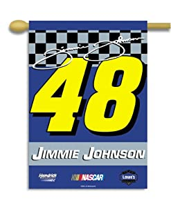 NASCAR Jimmie Johnson #48 2-Sided 28-by-40-Inch Banner with Pole Sleeve by BSI