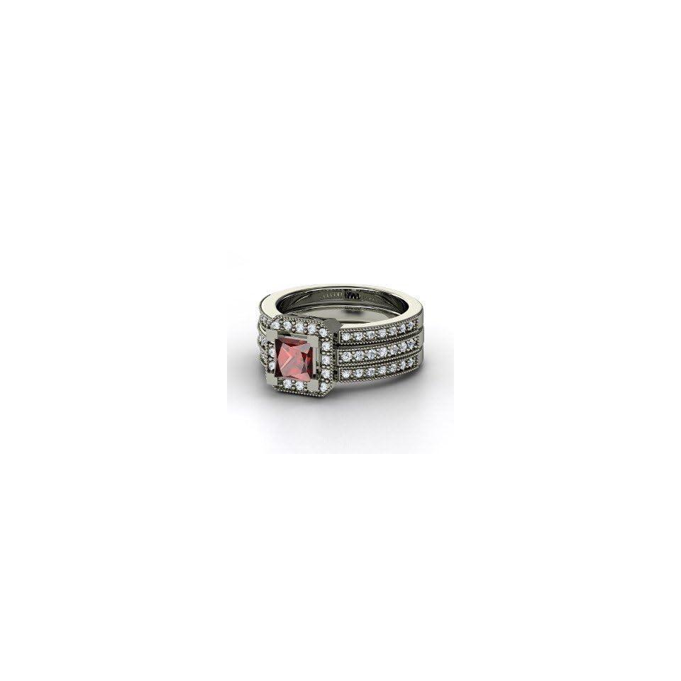 Va Voom Ring, Princess Red Garnet 14K White Gold Ring with Diamond